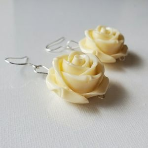 ROSE EARRINGS CREAM IVORY STONE LARGE SILVER 925